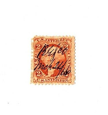 1862-71 2c USA Internal Revenue, Washington, Orange Scott R15c Used