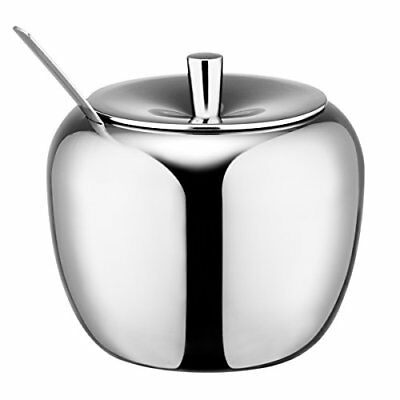 HardNok Stainless Steel Sugar Bowl with Lid and Spoon 16.9 Ounces 500 Milliliter