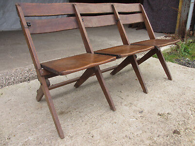 C1910 Very Unusual Sturdy Oak Fold Up Theatre or Audience seating 3 Seater (504)