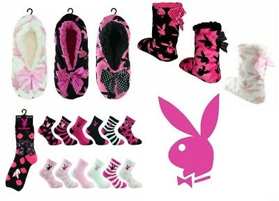 New Ladies/womens Cosy Sherpa Slippers Boots Bed Socks Playboy Bunny Warm Furry