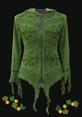 Gothic Ethno Witchy Pixie Pagan Jacket Hoody 36 38 40 42 44 46 Green Blue