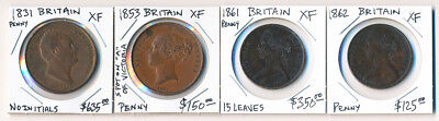 ## Valuable ## 4 British Pennies (1831-1862) Cv $1200+ Must See > No Reserve