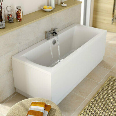Modern Bathroom Double Ended 1800 x 800mm Straight Bath Square Acrylic White