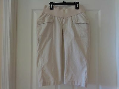 Maternity Low Rise Shorts Size Xs 100% Cotton 4 Pockets Ivory Never Worn