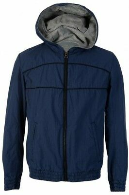 NWT HUGO BOSS Otails Hooded Packable Polyester Mens Blue Jacket 44R LARGE $495