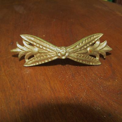 Antique Victorian Aesthetic Period Brass Drawer Pull or Handle with Screws