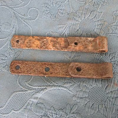 Pair of Antique Iron Gate or Barn Strap Hinges, 10 3/4 Inch