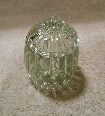Vintage Jeannette National Clear Ribbed Glass Relish Candy Powder Jar & Lid