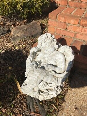 Breathtaking Old Angel Cherub Vintage Cement Concrete Garden Statue 13""