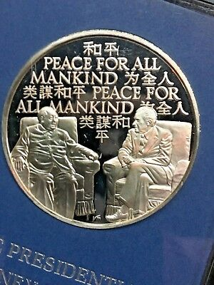 1972 Franklin Mint Proof Journey For Peace 1.23Ounce Sterling Silver Medal Coin