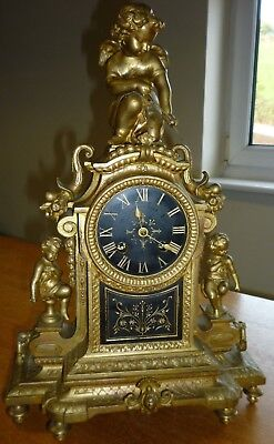 Antique P.H Mourey Gilt Bronze 8 Day Mantel Clock