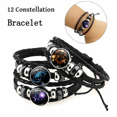 12 Constellation Handmade Leather Bangle Couple Gifts Zodiac Lovers Bracelet