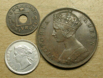 Hong Kong 1863 1 Mil, 1876 One Cent, and 1873 5 Cents