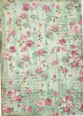 Rice Paper for Decoupage Scrapbook Craft Sheet Pretty Roses Green
