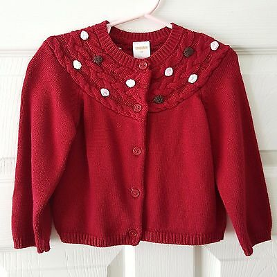 Gymboree So Sweet Bauble Sweater Cardigan Red Cable Knit Yoke 2T