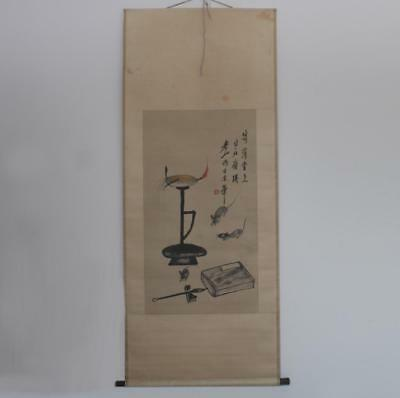 Very Rare Old Chinese Hand Painting Scroll Qi Baishi (160)