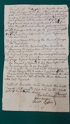 Lancaster Mass, 1769 meeting to build school house sgnd Asa Whitcomb
