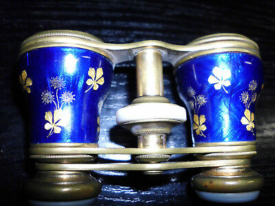 Altes emailiertes Opernglas blaues Emaille-Messing Theaterglas vintage