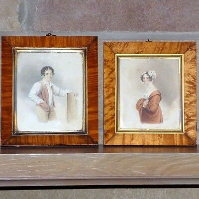 Pair of 19th Century Victorian Romantic Watercolors of a Young Couple