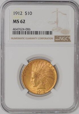 1912 $10 Gold Indian #4647624-006 MS62 NGC