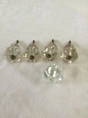 4 Vintage  Matching Clear Glass Drawer/ Cabinet- Pulls / Knobs/ & Hardware