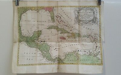 Antique map of West Indies and North & South America  1755