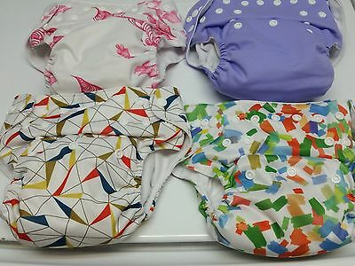 Nora's Nursery Cloth Pocket Snap Diapers and Inserts x4