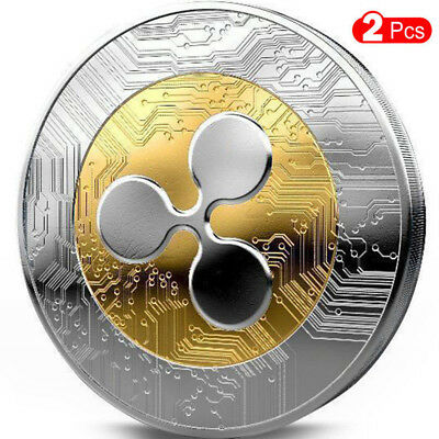 Gold &Silver Plated Ripple coin Commemorative Round Collectors Coin XRP Coin