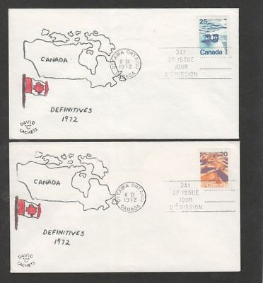 Canada 1972 medium value definitive lot of two FDC David C cachets