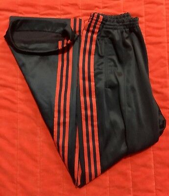 Vintage 70s Adidas Track Pants Blue/Red Size L 80s 3 Stripes Trefoil Made In USA