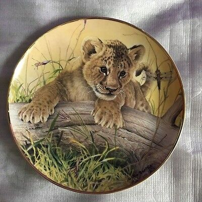 """Fine Porcelain Tiger Cub Decorative Plate """"CAN WE BE FRIENDS?"""" by Glen Loates"""
