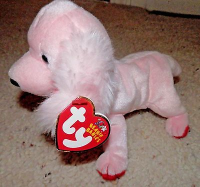 Ty Beanie Baby dog Sonnet with i love you collar   pink 2003 Valentines