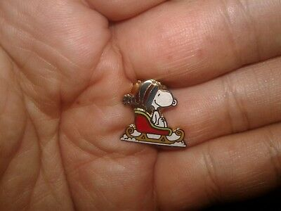 Vintage Aviva Snoopy Riding Sleigh Mini Pin