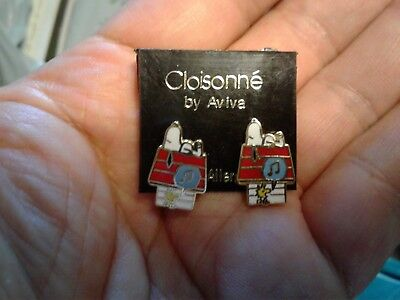 Vintage Aviva Snoopy Woodstock and Doghouse Earrings
