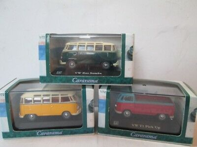 VW Volkswagen t1 Hongwell 3 x boxed samba pick up 1/72 scale