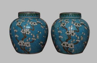 Exquisite Pair Chinese Famille Rose Porcelain Pots Jar With Cover (L788)
