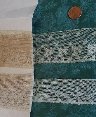 2 with tiny detail Antique French Val lace  trim  cotton 4 yards 1800s