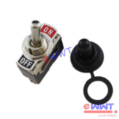 Heavy Duty 20A 125V SPST 2 Terminal On/Off Toggle Switch+Waterproof Boot ZJOS056