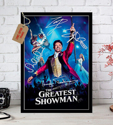 THE GREATEST SHOWMAN 2017 HUGH JACKMAN Cast Signed Movie Poster Print A4