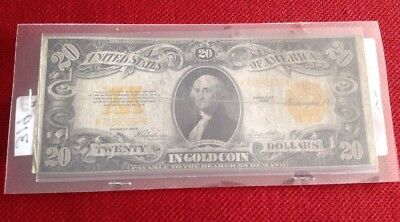 1922 20 Dollar Gold Certificate Large Bill Nice Condition