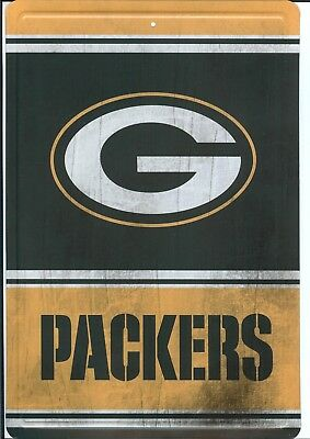 "Green Bay Packers Vintage Wood Style Metal 8"" X 12"" Sign Nfl New Man Fan Cave"
