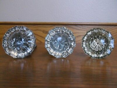 Three Vintage  Clear Glass Door Knobs 12 Sided Gv Cond