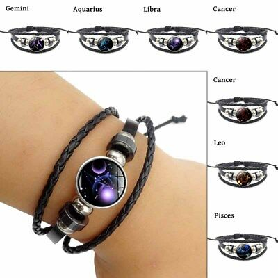 12 Constellation Handmade Leather Bangle Couple Retro Jewelry Zodiac Bracelet