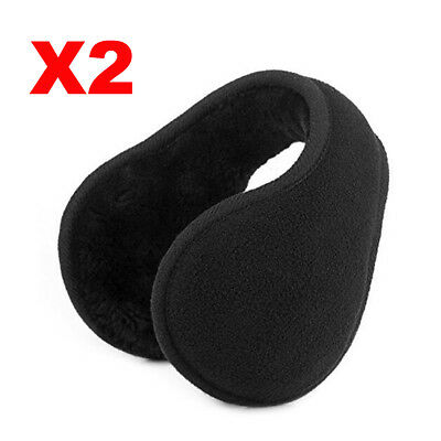 2X Black Adult Men Adjustable Ear Warmers Winter Ear Muffs Behind the Head Band