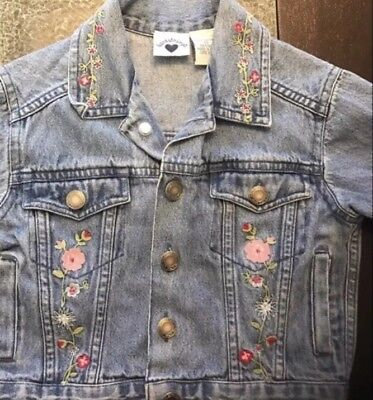 Hartstrings Girls 3T Blue Denim Jean Jacket Embroidered Flowers Button Front
