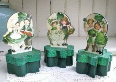 St. Patrick's Day Boxes Boy and Girl Vintage Reproductions Sparkle Set of 3