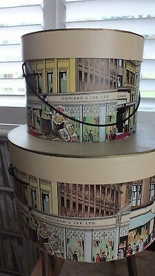 2 Sizes Vintage Pre 1970s Cardboard Hatboxes Copland & Lye Ltd Glasgow Excellent