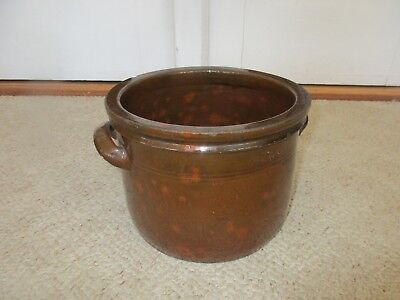 """Antique 19th C Stoneware Redware New England Gonic NH Handled Crock 6 1/2"""""""
