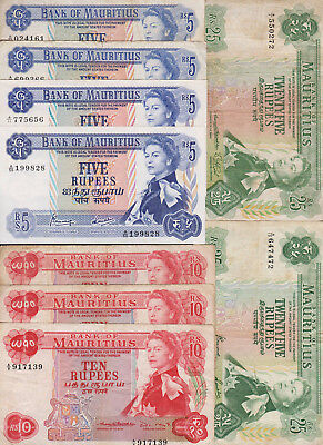 Banknote set 9 pcs MAURITIUS - 5, 10 and 25 Rupees ND(1967) - P. 30-32