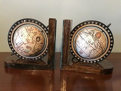 Vintage SPINNING OLD WORLD GLOBE BOOKENDS Wood Base Armbee San Francisco